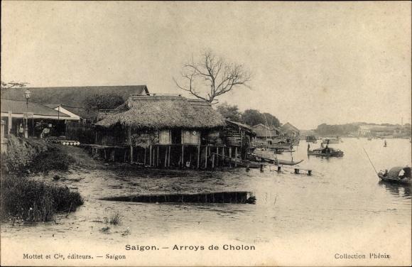 Ak Saigon Cochinchine Vietnam, Arroys de Cholon, Flusspartie