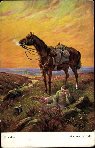 Künstler Ak Kahle, F., Auf fremder Erde, verwundeter Soldat mit Pferd, Heidekraut