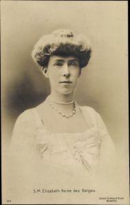 Ak S.M. Elisabeth Reine des Belges, Königin von Belgien, Perlenkette