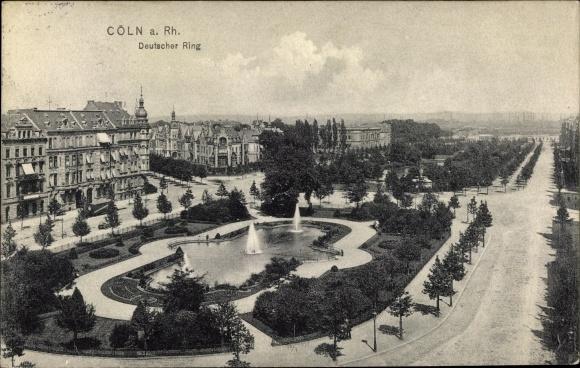 Ak Köln Innenstadt, Deutscher Ring, Parkanlage, Fontänen, Stadtpanorama
