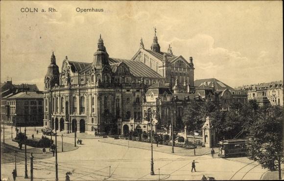 Ak Köln Innenstadt, Opernhaus Gesamtansicht, Strassenbahnwagen 25