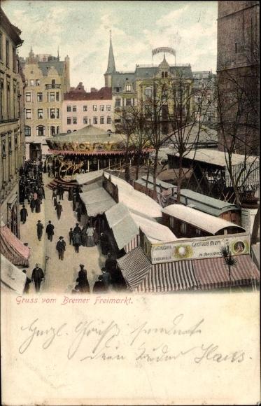 Ak Hansestadt Bremen, Ansicht vom Bremer Freimarkt, Karussell