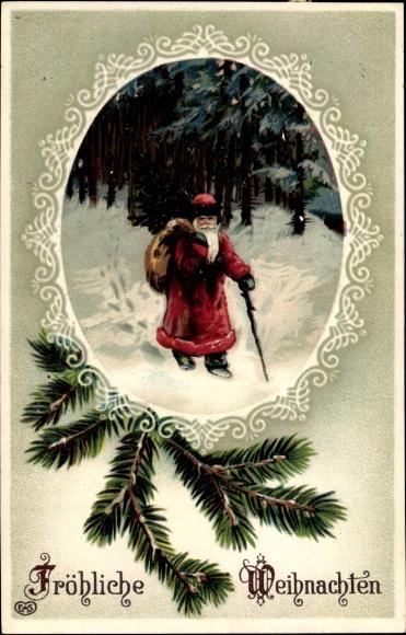 Präge Passepartout Litho Frohe Weihnachten, Weihnachtsmann