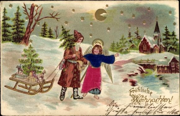 Präge Stoff Ak Frohe Weihnachten, Weihnachtsmann, Engel, Schlitten, Tanne, Nachtszene