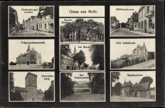 Ak Melle in Niedersachsen, Präparandenanstalt, Dietrichsburg, Gut Ostenwalde, Villa Unbefunde, Markt