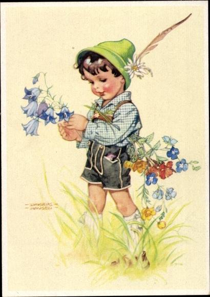 Künstler Ak Lungershausen, Ilse Wende, Junge in Lederhose mit Blumenstrauß