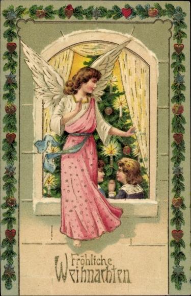 k nstler ak weihnachten weihnachtsbaum kinder eichk tzchen. Black Bedroom Furniture Sets. Home Design Ideas
