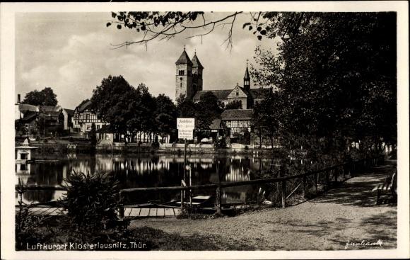 Ak Bad Klosterlausnitz in Thüringen, Wasserpartie, Gondelhafen