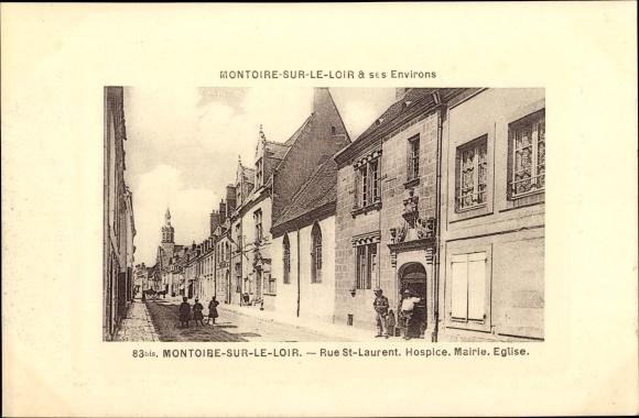 Präge Passepartout Ak Montoire sur le Loir, Rue St. Laurent, Hospice, Mairie, Église