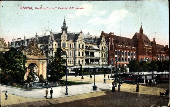 Ak Szczecin Stettin Pommern, Berliner Tor mit Oberpostdirektion