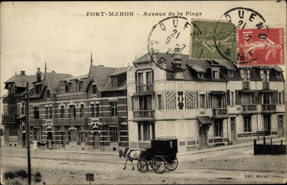 Ak Fort Mahon Plage Somme, Avenue de la Plage, Strandpromenade, Kutsche
