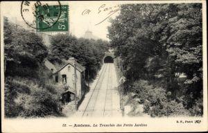 Ak Amiens Somme, La Tranchée des Petits Jardins, Blick auf den Bahnhof, Gleisseite