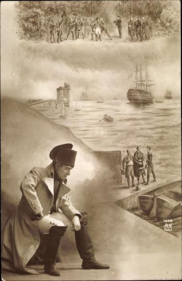 Künstler Ak Napoleon Bonaparte, Kaiser Napoleon I., wartend an einem Hafen