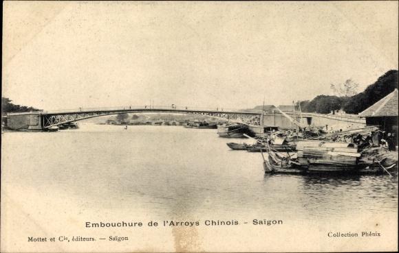 Ak Saigon Cochinchine Vietnam, Embouchure de l'Arroys Chinois, Brücke