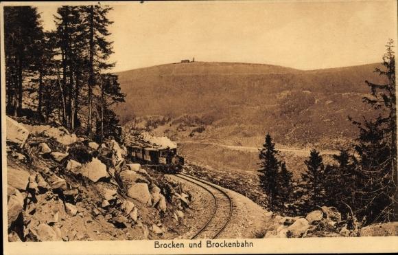 Ak Brocken Nationalpark Harz, Brockenbahn, Dampflok, Bahnstrecke