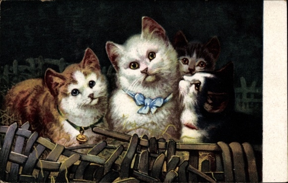 Künstler Ak Katzenportrait, Vier Katzen mit Schleife und Glocke um den Hals