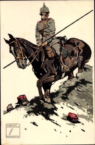Künstler Litho Hohlwein, Ludwig, Deutscher Kavallerist, Franzose
