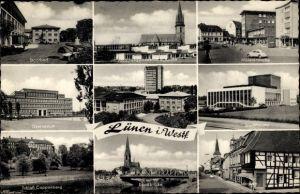 Ak Lünen in Nordrhein Westfalen, Stadtbad, Münsterstraße, Stadttheater, Langestr., Gymnasium, Kirche