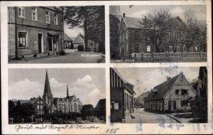 Ak Roxel West Münster in Westfalen, Kirchplatz, Kath. Schule, Kirche, Straßenpartie