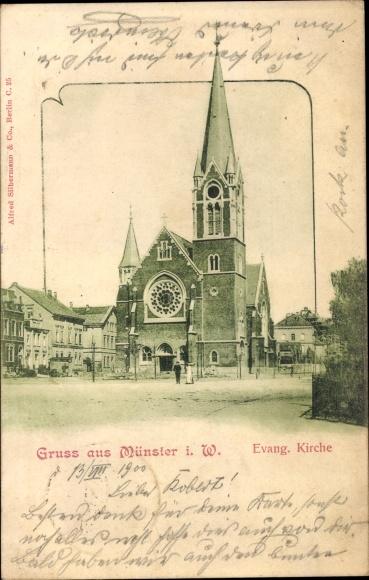 Ak Münster in Westfalen, Ansicht von der Evang. Kirche
