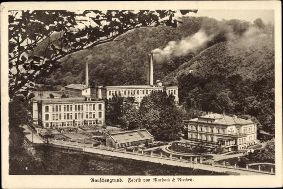 Ak Šumná Rauschengrund Litvínov Leutensdorf Region Aussig, Fabrik von Marbach & Riecken