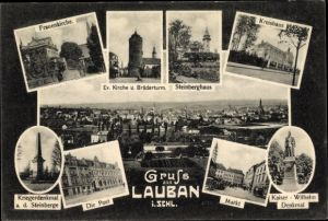 Ak Lubań Lauban Schlesien, Frauenkirche, Brüderturm, Steinberghaus, Kreishaus, Post, Markt, Denkmal