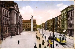 Ak Karlsruhe in Baden Württemberg, Oberpostamt, Kaiserstraße, Grenadierdenkmal, Straßenbahn