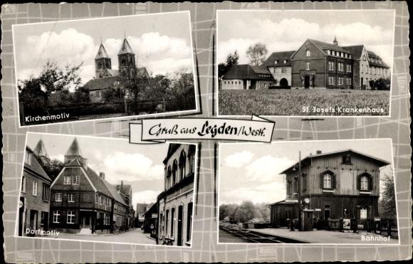 Ak Legden in Nordrhein Westfalen, St. Josefs Krankenhaus, Bahnhof von den Gleisen gesehen, Kirche