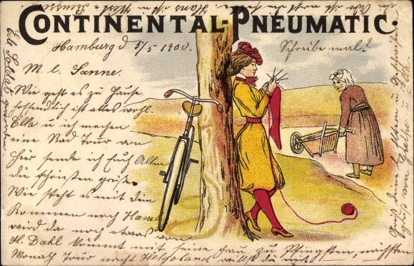 Litho Continental Pneumatic Reklame, Junge Frau beim Stricken, Fahrrad