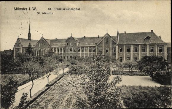 Ak Münster in Westfalen, St. Mauritz, St. Franziskushospital