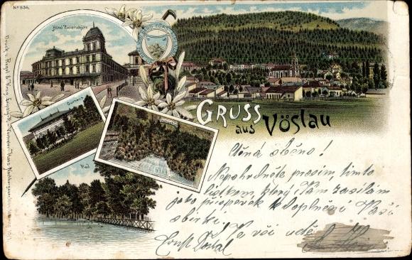 Litho Bad Vöslau in Niederösterreich, Hotel Zwierschütz, Kurhaus, Bad, Totalansicht