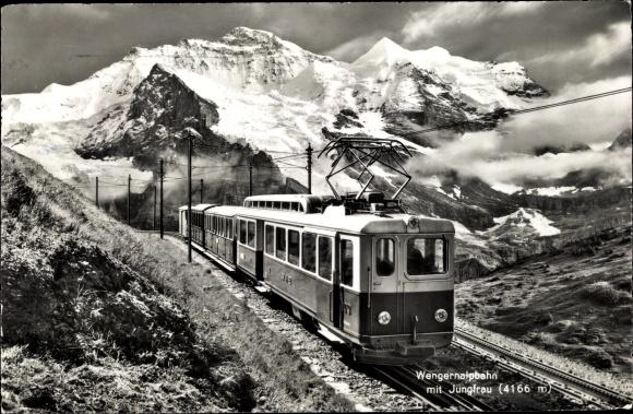 Ak Schweiz, Wengernalpbahn mit Jungfrau, Zahnradbahn
