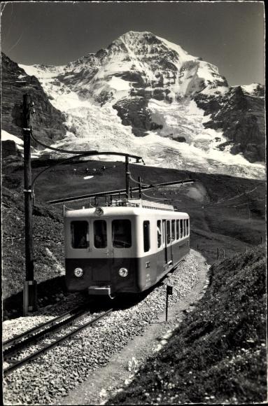 Ak Schweiz, Jungfraubahn, Zahnradbahn, Mönch, Bahnstrecke, Landschaftsblick
