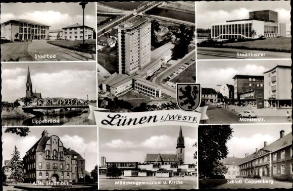 Ak Lünen Nordrhein Westfalen, Stadtbad, Stadttheater, Schloss Cappenberg, Mädchengymnasium, Kirche