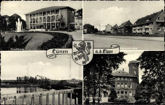 Wappen Ak Lünen in Nordrhein Westfalen, Stadtbad, Bebelstraße, Hafen, Schloss Schwansbell