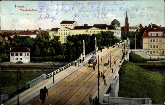 Ak Poznań Posen, Theaterbrücke, Straßenbahn