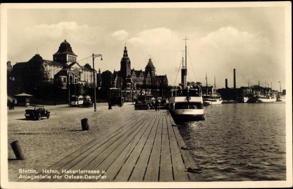 Ak Szczecin Stettin Pommern, Hafen, Hakenterrasse, Anlegestelle der Ostseedampfer