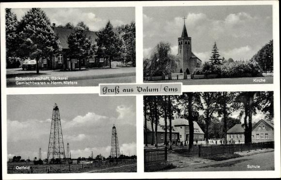 Ak Dalum Geeste im Emsland, Schankwirtschaft Bäckerei Herm. Nieters, Ölfeld, Kirche, Schule