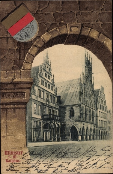 Wappen Passepartout Ak Münster in Westfalen, Das Rathaus, Fassadenansicht