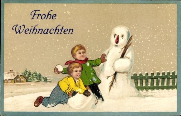 Weihnachten Kinder.Präge Ak Frohe Weihnachten Schneemann Kinder Schneeballschlacht
