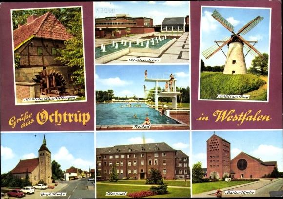 Ak Ochtrup in Westfalen, Schulzentrum, Windmühle, Freibad, Kirche, Hospital