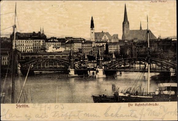 Ak Szczecin Stettin Pommern, Die Bahnhofsbrücke, Kirche