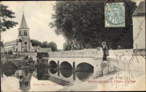 Ak Saint-Julien-lès-Gorze Lothringen Meurthe et Moselle, L'Eglise et le Pont, Kirche, Brücke