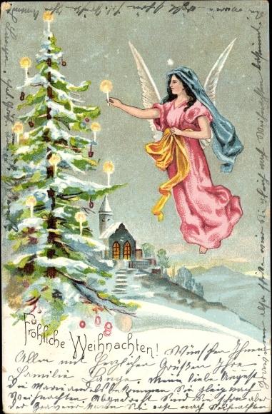 Glückwünsche Zu Weihnachten.Litho Glückwunsch Weihnachten Engel Schmückt Weihnachtsbaum Mit Kerzen Kirche