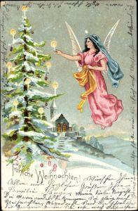 Litho Glückwunsch Weihnachten, Engel schmückt Weihnachtsbaum mit Kerzen, Kirche