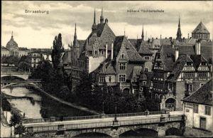 Ak Strasbourg Straßburg Elsass Bas Rhin, Höhere Töchterschule, Geschäft S. Nerson, Turm der Synagoge