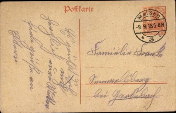 Ganzsachen Ak 7 1/2 Pfennig, Deutsches Reich, Germania, orange