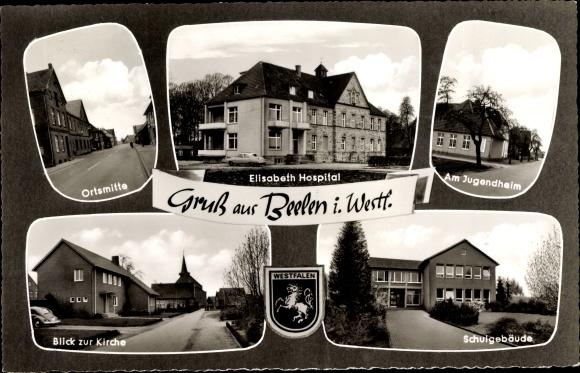 Ak Beelen in Nordrhein Westfalen, Wappen, Elisabeth Hospital, Kirche, Jugendheim, Schule, Ortsmitte