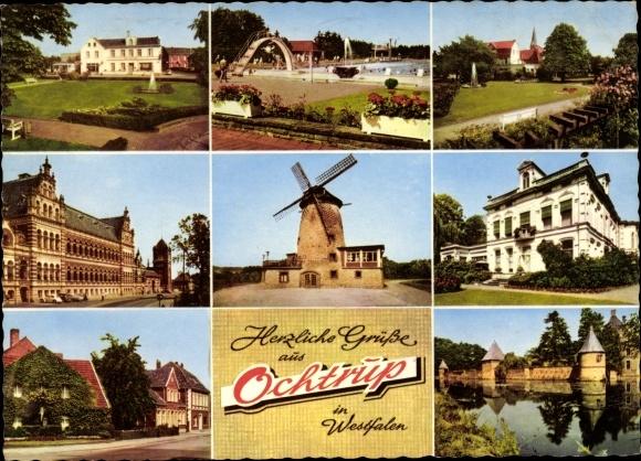 Ak Ochtrup in Westfalen, Ansichten, Freibad, Windmühle, Schloss, Rathaus, Straßenpartie, Kirche