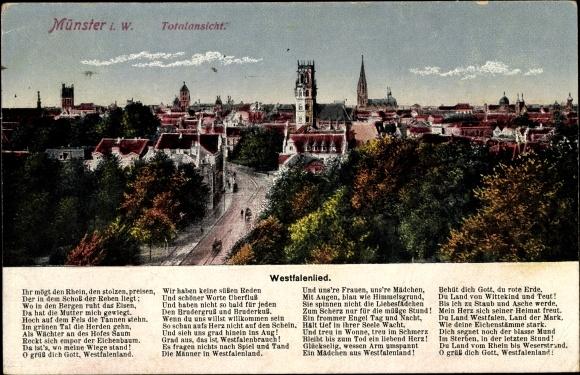 Lied Ak Münster in Westfalen, Totalansicht von der Stadt, Westfalenlied